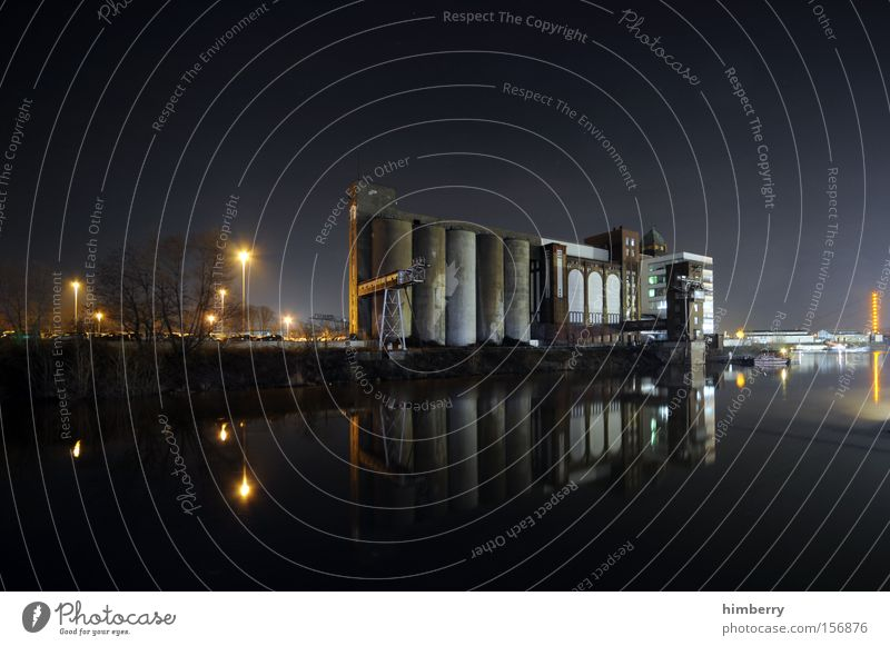 Architecture Industry Industrial Photography Factory Harbour Skyline Silo Production Shift work Industrial district Water reflection