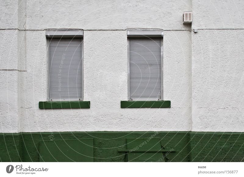 Sunday Flat (apartment) House (Residential Structure) Wall (barrier) Wall (building) Window Line Gloomy Green Closed Plaster Roller shutter Venetian blinds