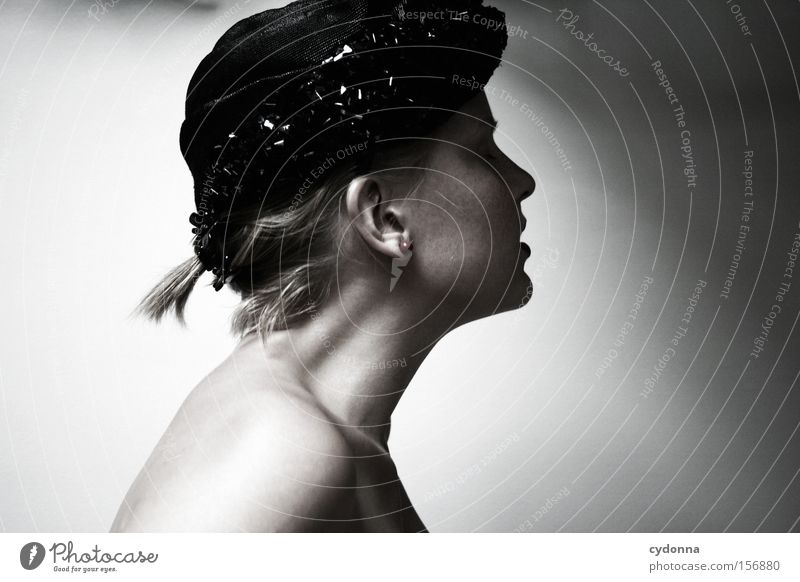 Painful Human being Woman Portrait photograph Calm Looking Hat Retro Beautiful Esthetic Head Feminine Longing Light Thought Classic Profile Emotions