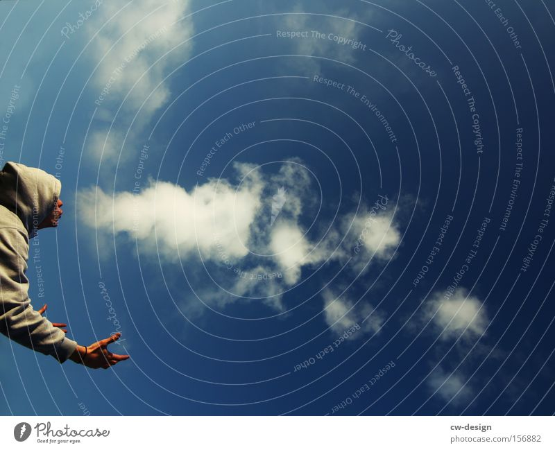 Human being Man Youth (Young adults) Sky White Blue Clouds Head Mouth Adults Masculine Nose Smoking Smoke Environmental pollution Blow