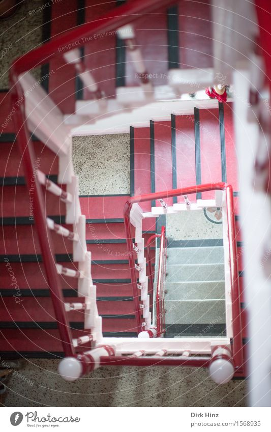 Birtes Staircase House (Residential Structure) Manmade structures Building Architecture Stairs Old Sharp-edged Under Red Fear of heights Threat