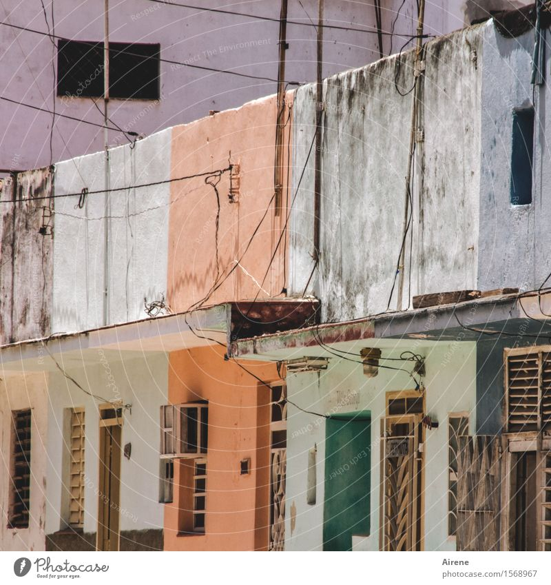 Green Colour House (Residential Structure) Dark Brown Facade Orange Dirty Gloomy Poverty Simple Exotic Old town Pallid Cuba Bad weather