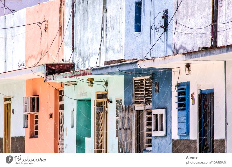 paintboxes Living or residing House building Redecorate Havana Cuba Village Fishing village House (Residential Structure) Housefront Facade Concrete Brick