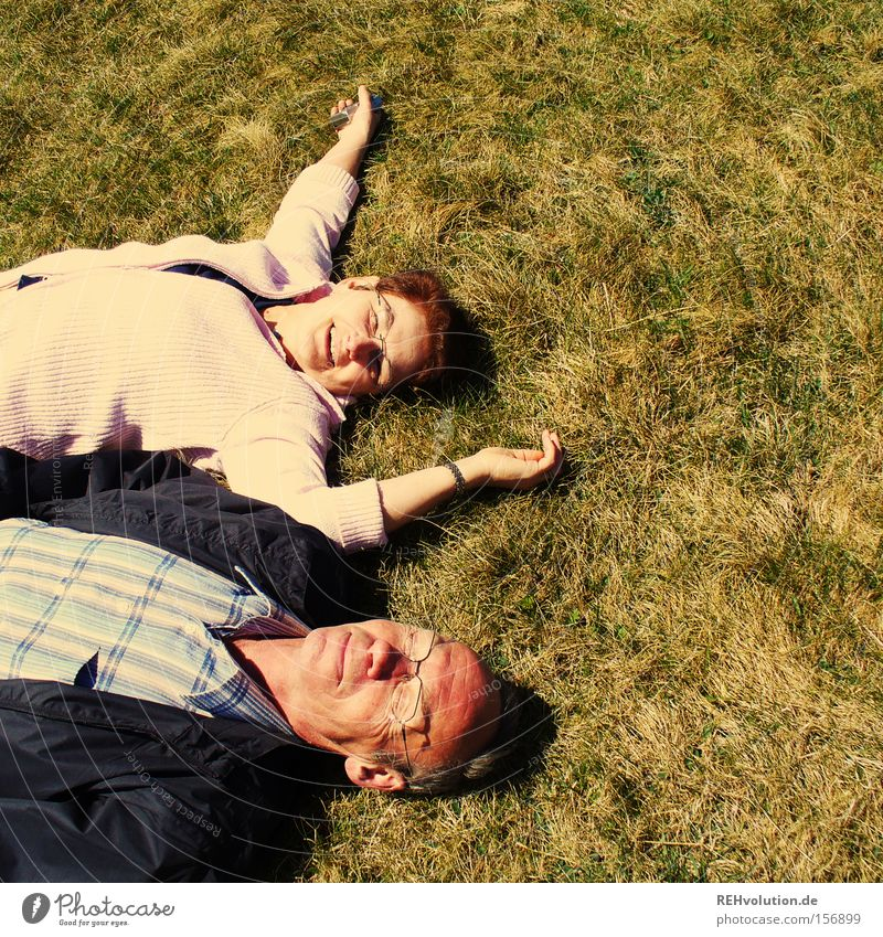 A couple of elderly people lying in a meadow Joie de vivre (Vitality) Meadow Lie Relaxation Human being Married couple To enjoy Summer Couple Laughter Happy