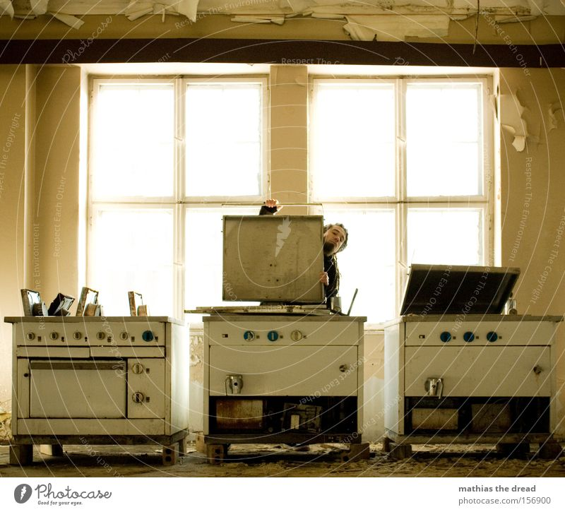 Man Old Loneliness Window Nutrition Cooking & Baking Kitchen Derelict Gastronomy Production Hall Dining hall Stove & Oven Cafeteria Boiler