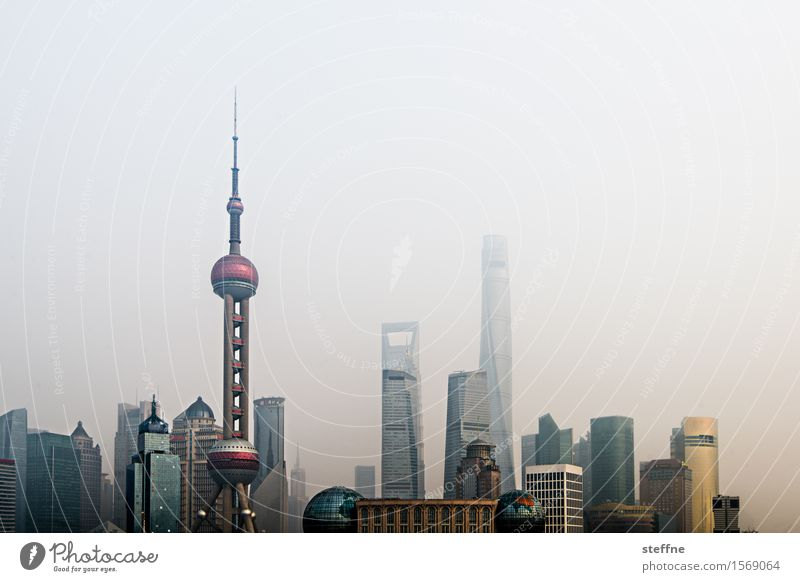 Skyline Pudong. Town City High-rise Overpopulated dwell Landmark Shanghai pudong China Smog Fog