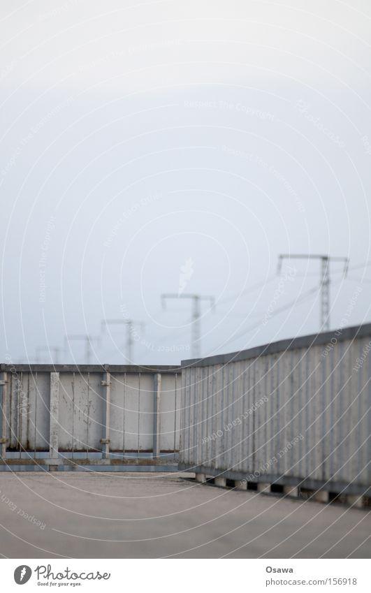 Sky Loneliness Cold Berlin Gray Empty Bridge Asphalt Steel Handrail Electricity pylon Cover Commuter train station