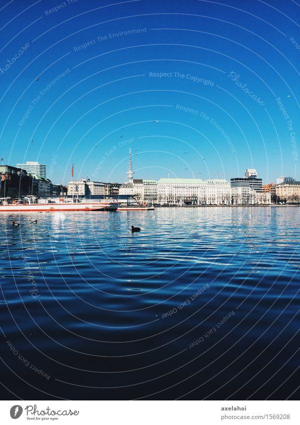 Hamburg Panorama at the Alster Vacation & Travel Tourism City trip Cruise Water River Navigation Inland navigation Passenger ship Steamer Emotions Moody