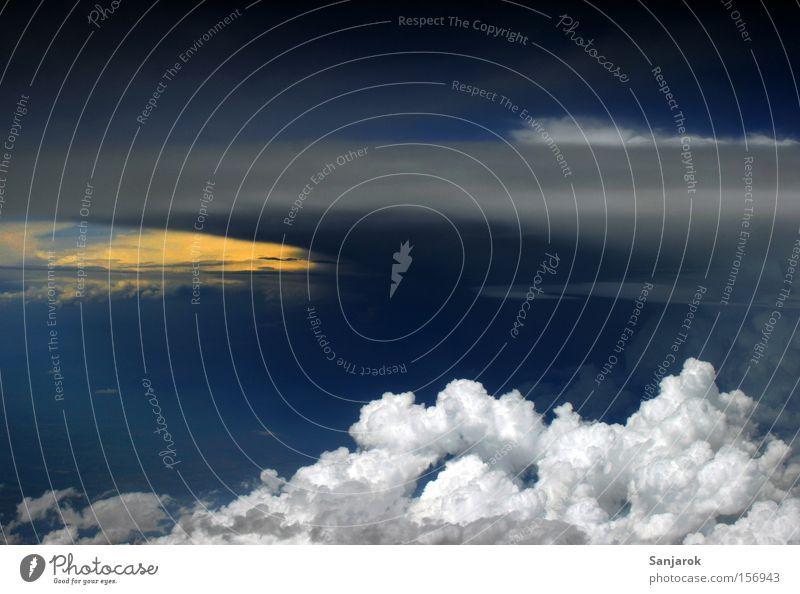 Sky White Blue Clouds Airplane Weather Aviation Dangerous Threat Thunder and lightning Cumulus Storm clouds Menacing Cumulunimbus cloud Stratocumulus