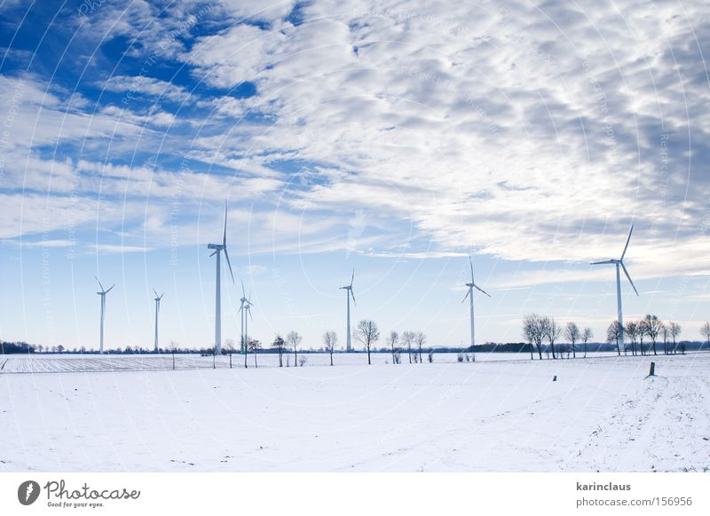 blue winter windmill park Nature White Blue Winter Cold Snow Landscape Power Wind Environment Energy Industry Energy industry Industrial Photography Mill