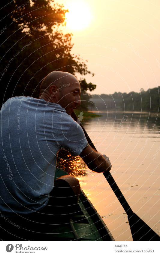 venezian blood Sun Sports Aquatics Masculine Man Adults Back 1 Human being Nature Water Sunrise Sunset Forest River Transport Navigation Fishing boat