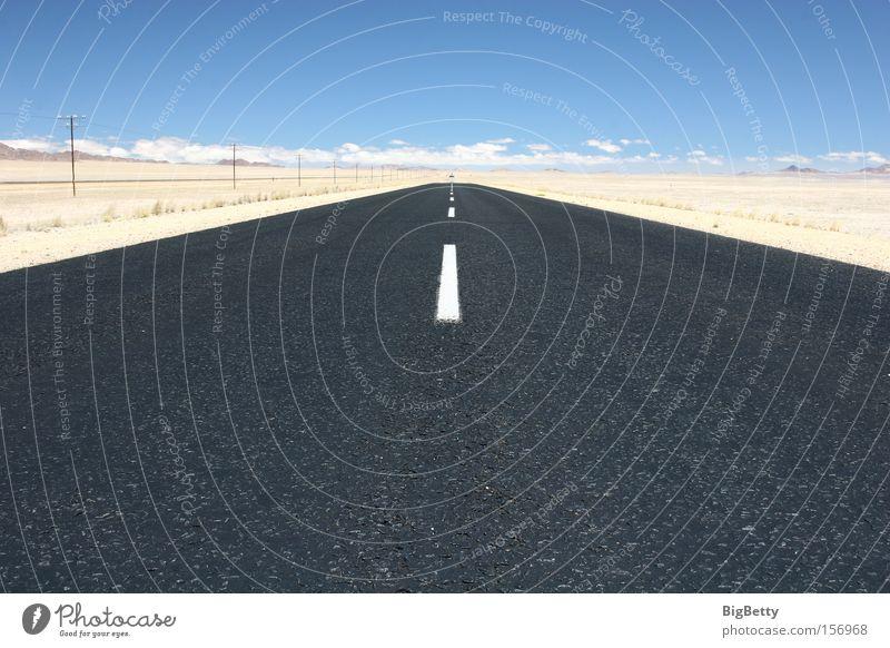 Far-off places Street Freedom Sand Horizon Africa Desert Traffic infrastructure Tar Namibia