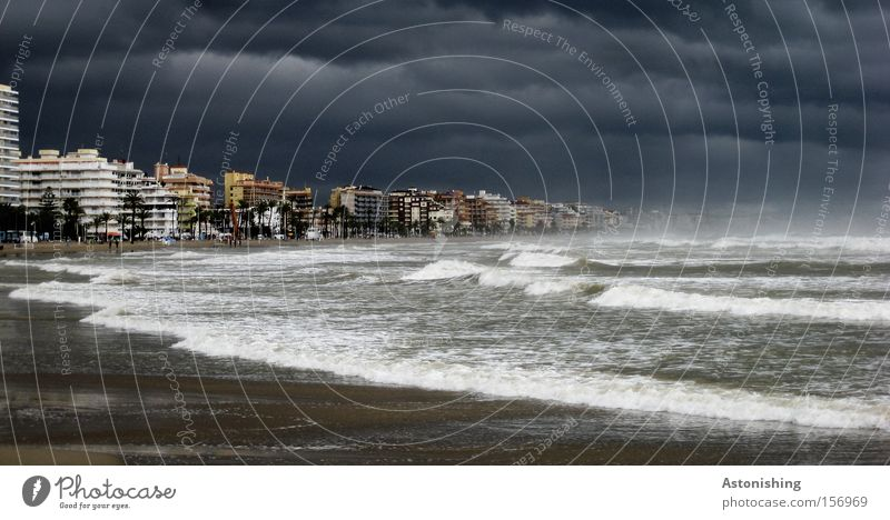 apocalypse Ocean Waves Water Sky Weather Rain Thunder and lightning Peniscola Spain Town Dark Gray Moody Fear Future Apocalypse High tide Panic Surf Gale Swell