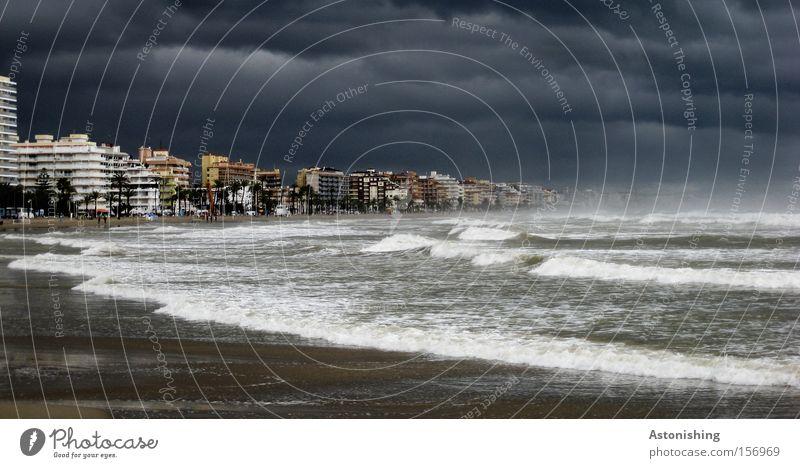 Sky Water City Beach Ocean Dark Gray Moody Rain Weather Waves Fear High-rise Future Threat Gale