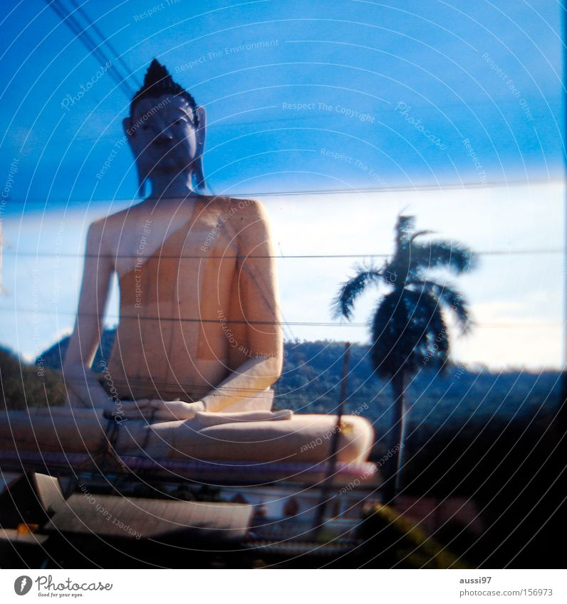 Peace Asia Buddhism Statue Meditation Intoxicant Prayer Deities Buddha Monk Profession Clergyman Washed out Joss sticks Smoke-filled
