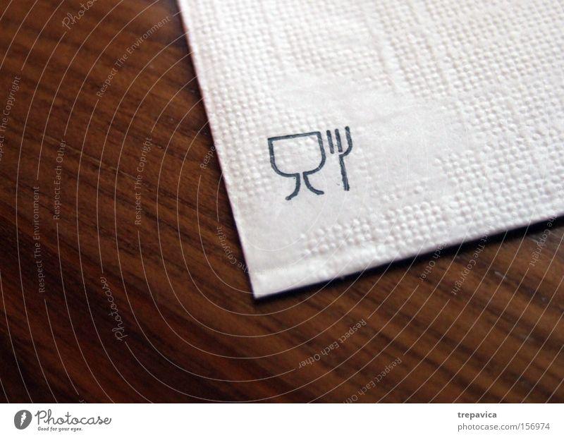 essen Communicate symbol besteck komunikation Napkin tisch Restaurant braun weiss papier gabel