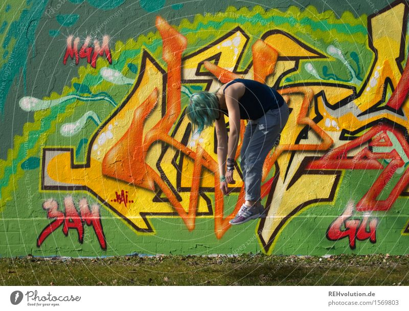 Human being Youth (Young adults) City Colour Young woman 18 - 30 years Adults Graffiti Feminine Art Exceptional Hair and hairstyles Flying Creativity Uniqueness