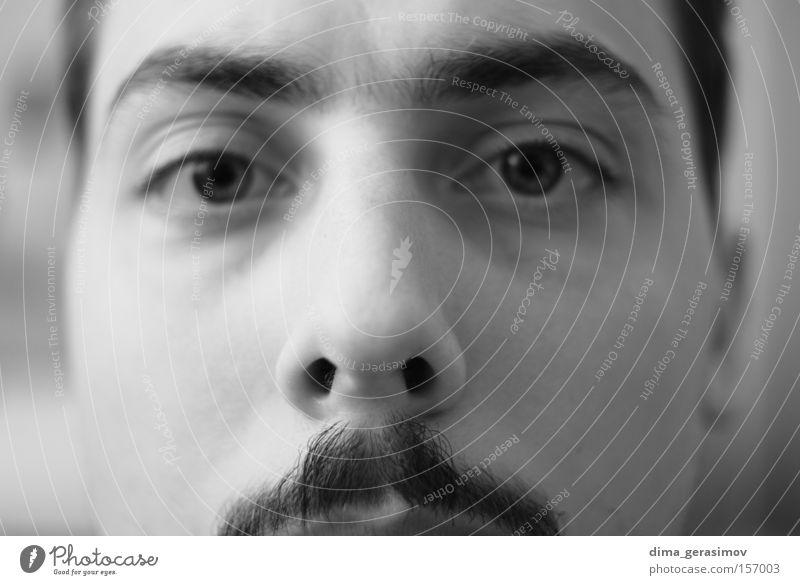 Eyes Man Nose Moustache Black & white photo Portrait photograph Style Fear Panic look