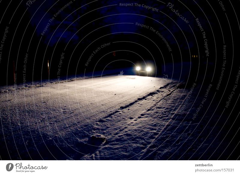 Winter Street Snow Car Lighting Motor vehicle Night Traffic infrastructure Motoring Accident Floodlight Car headlights Roadside Chase Night journey
