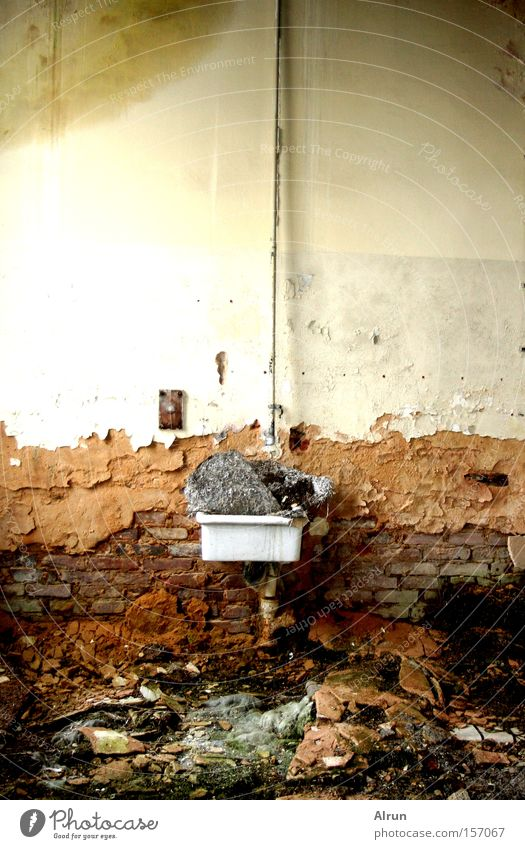Old Architecture Stone Room Bathroom Trash Derelict Plaster Redecorate Sink Shift work