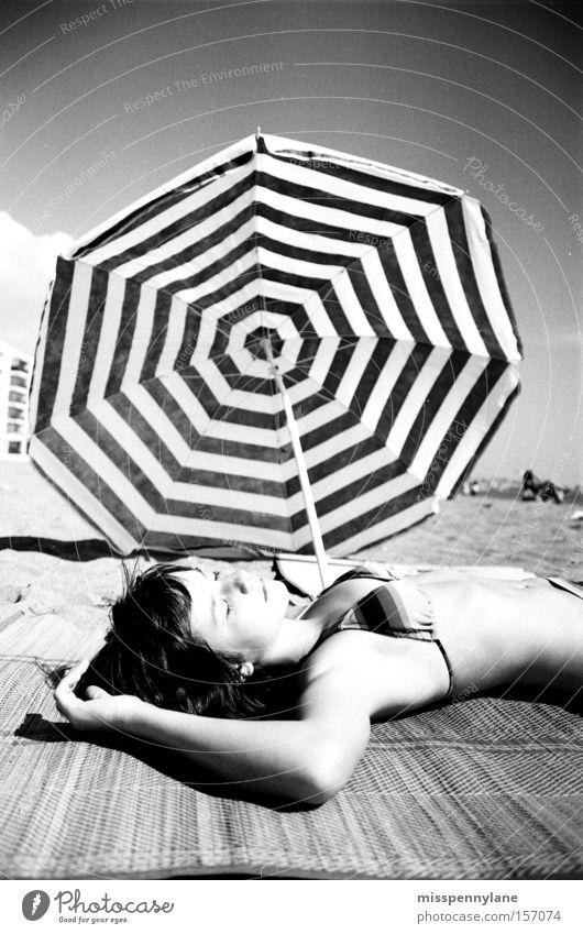 seventies Sunshade Bikini Beach Spain Ocean Beach mat Relaxation Summer Coast little sister