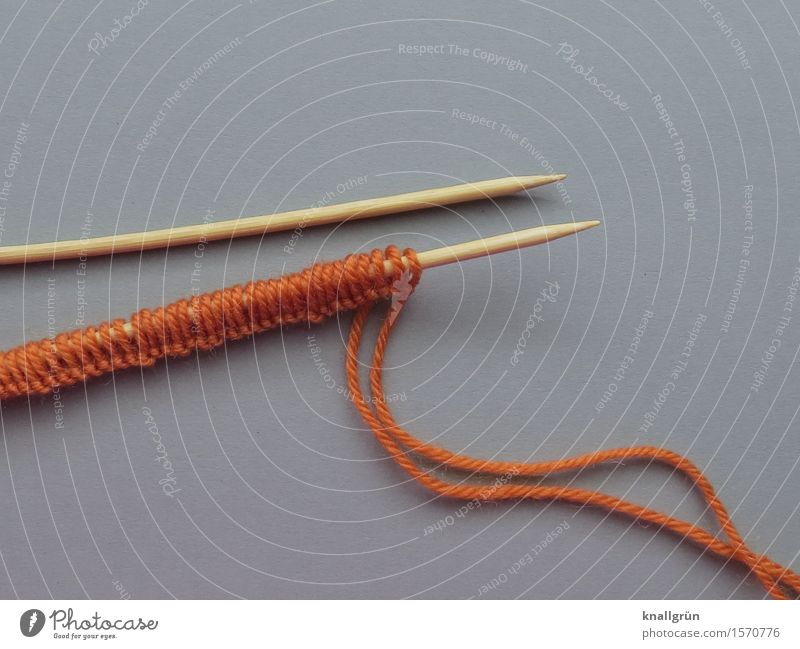 Let's see what it becomes... Leisure and hobbies Handcrafts Knit Wool knitting yarn Knitting needle Make Hip & trendy Uniqueness Gray Orange Emotions Joy