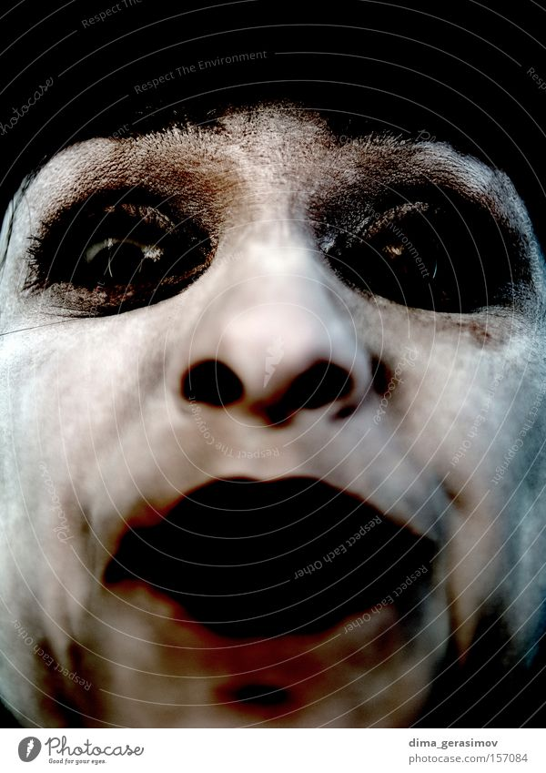 Fear Eyes Nose Mouth Black Terror Style Woman Old Dangerous look