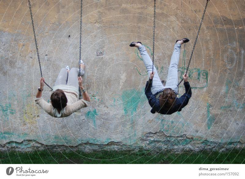 Swing Girl Summer Joy Wall (building) Wall (barrier) Legs Playground Rowboat To swing Estonia Tallinn