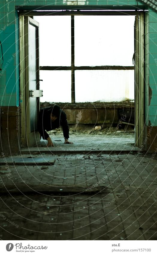 front legs Human being Window Window pane Derelict Shabby Dirty Passage Crawl Industry Glass Loneliness Door Creep on all fours