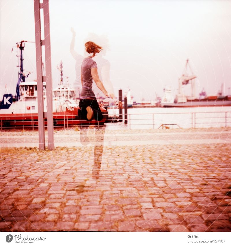Woman Water Joy Lomography Lanes & trails Jump Hamburg Harbour Violet Ghosts & Spectres  Phenomenon Elbe Swing Hop Medium format Watercraft
