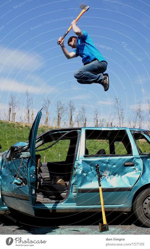 Human being Blue Tool Trash Car Motor vehicle Broken Boredom Destruction Digital photography Scrap metal Axe Wacky