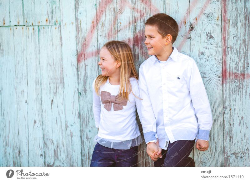 funday Girl Boy (child) Brother Sister Infancy 2 Human being 8 - 13 years Child Happiness Together Happy Hold hands brotherly love Colour photo Multicoloured