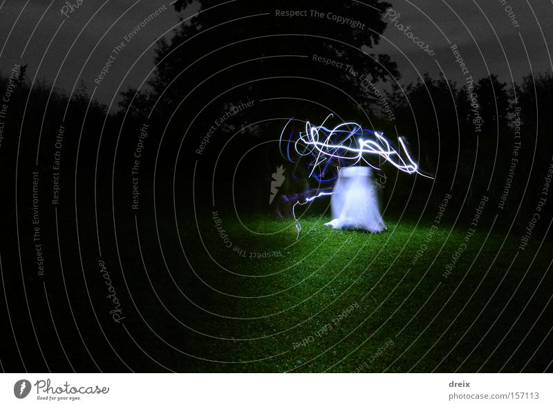 Something Wanders Around Out There Night Light Light (Natural Phenomenon) Long exposure Grass Threat Dark White Fear Dangerous Surrealism Eerie Ghost light