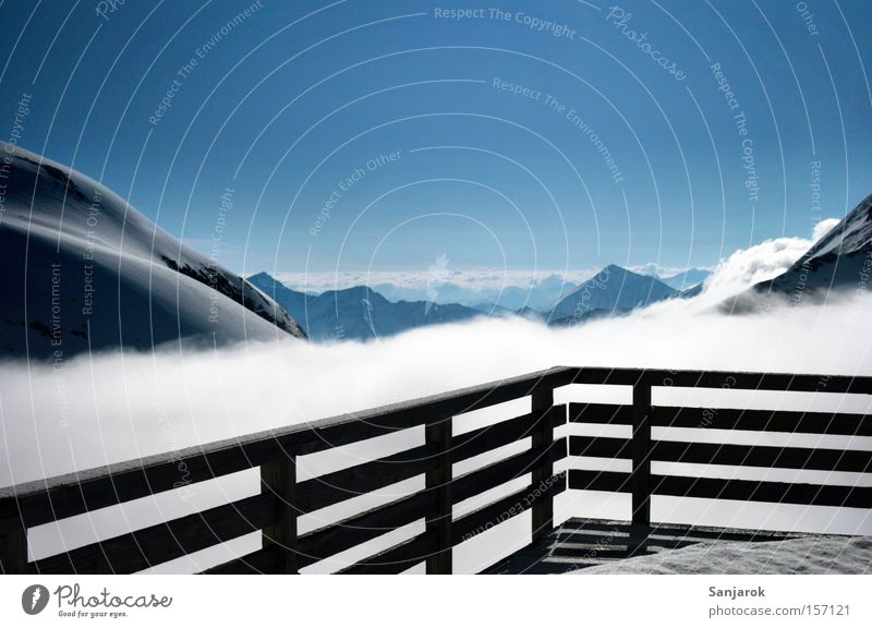 Heaven Loneliness Clouds Far-off places Winter Mountain Freedom Horizon Vantage point Infinity Handrail Alps Snowcapped peak Balcony Hut Cloudless sky
