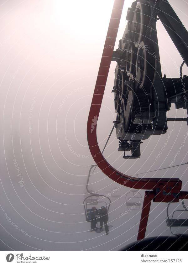 Human being Winter Clouds Mountain Fog Technology Alps Austrian Alps Machinery Coil Ski resort Hanger Chair lift