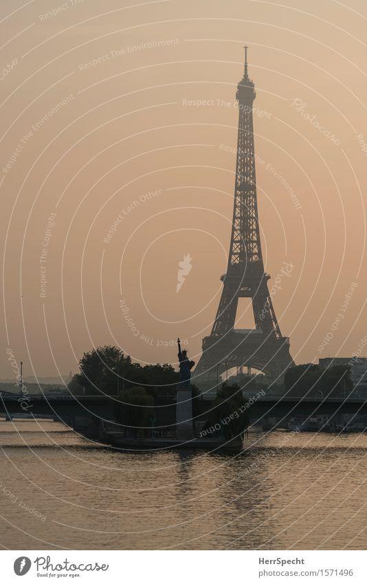 Statue of Liberty Sculpture River bank Seine Paris Capital city Outskirts Bridge Tower Tourist Attraction Landmark Monument Eiffel Tower Exceptional Together