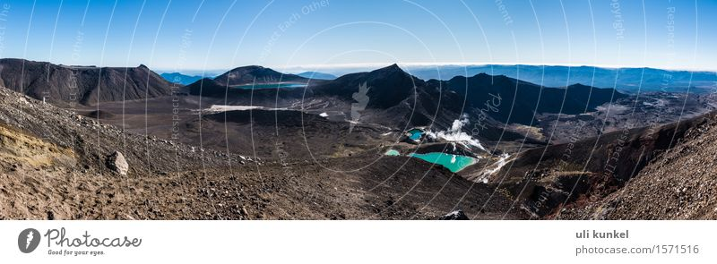 Tongariro Alpine Crossing Nature Landscape Plant Elements Earth Sand Fire Air Water Sky Cloudless sky Sun Summer Beautiful weather Hill Rock Alps Mountain Peak