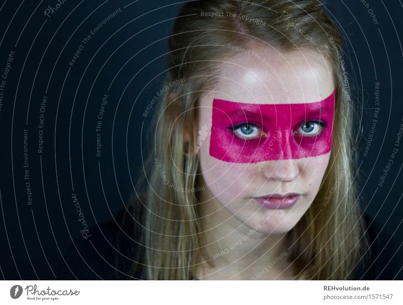 Young woman with painted face Human being Youth (Young adults) Adults 1 18 - 30 years Art Stage play Culture Blonde Long-haired Aggression Cool (slang) Exotic