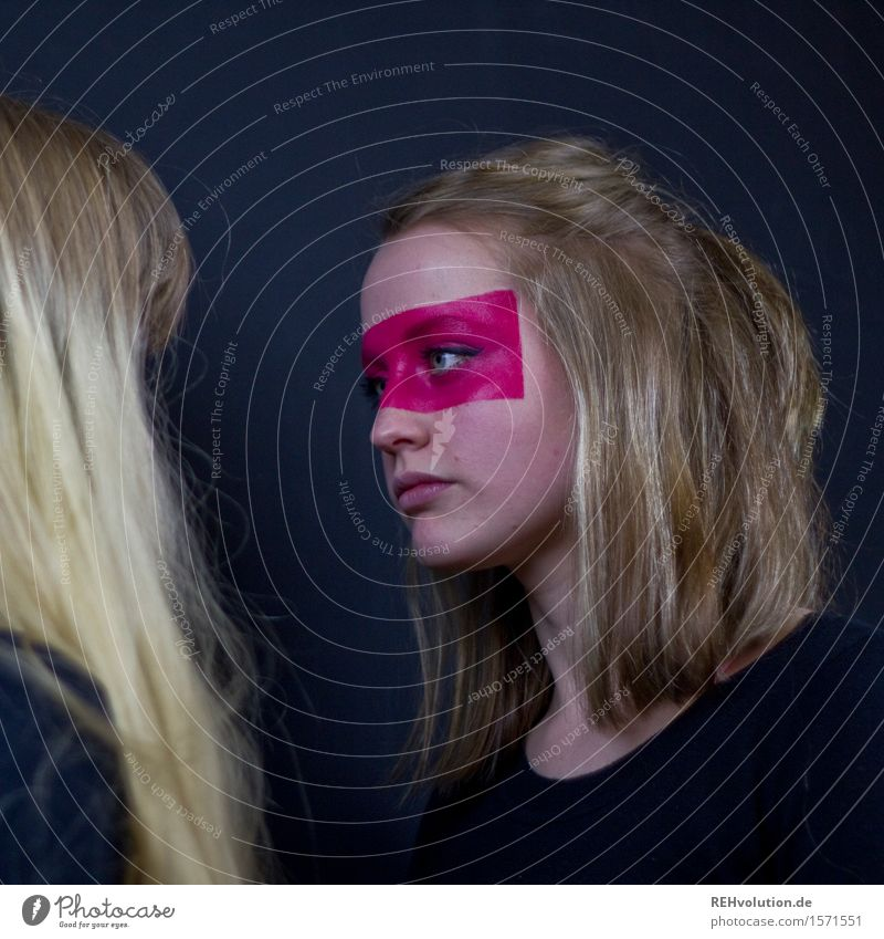 Alexa in combat mode. Human being Feminine Young woman Youth (Young adults) Face 2 18 - 30 years Adults Hair and hairstyles Blonde Long-haired Observe