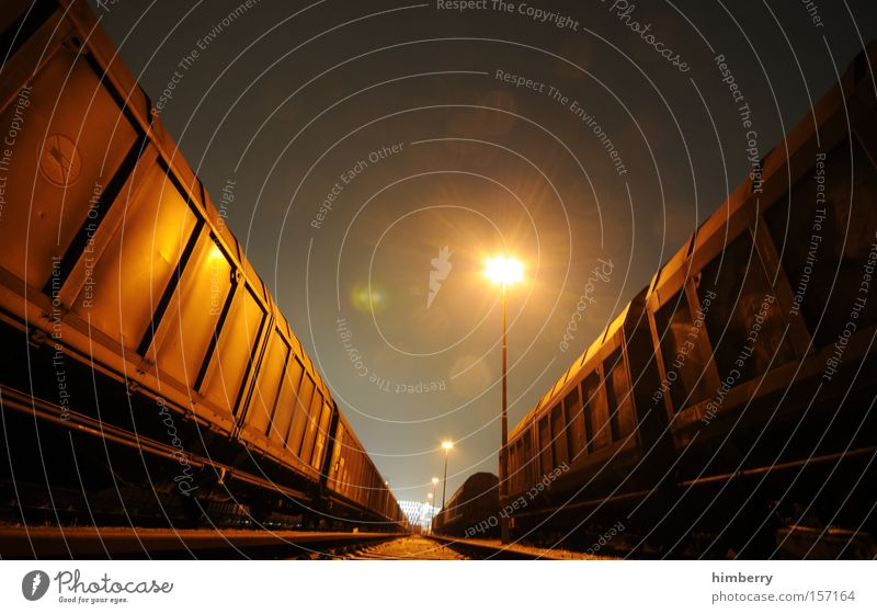 NightTrain Railroad Transport Logistics Railroad car Freight car Container Shipping Railroad tracks Rail transport Industrial Photography Industry