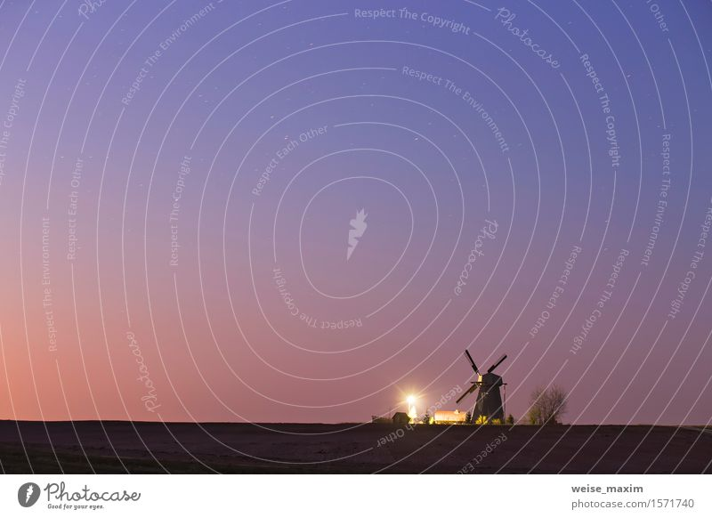 Old windmill in a starry spring night Beautiful Vacation & Travel House (Residential Structure) Lamp Nature Landscape Sky Night sky Stars Spring
