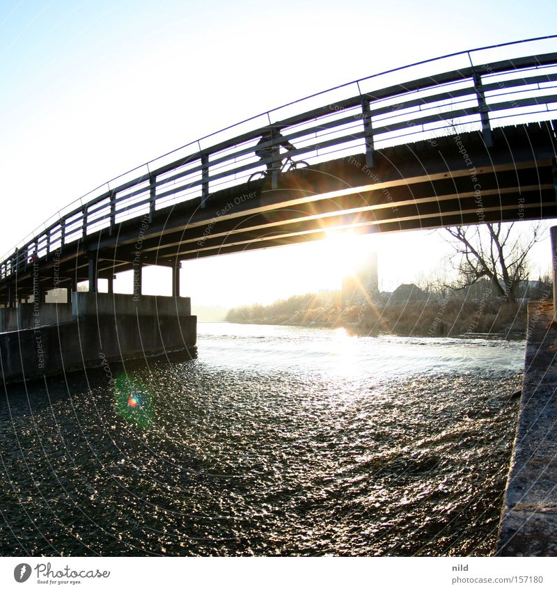 cyclist Bicycle Footbridge Bridge Flaucher Isar Munich Back-light Beautiful weather Square Fisheye Winter River Cycling