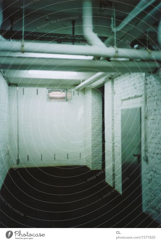 In the cellar Flat (apartment) House (Residential Structure) Room Cellar Wall (barrier) Wall (building) Door Conduit Creepy Green Black Analog Colour photo