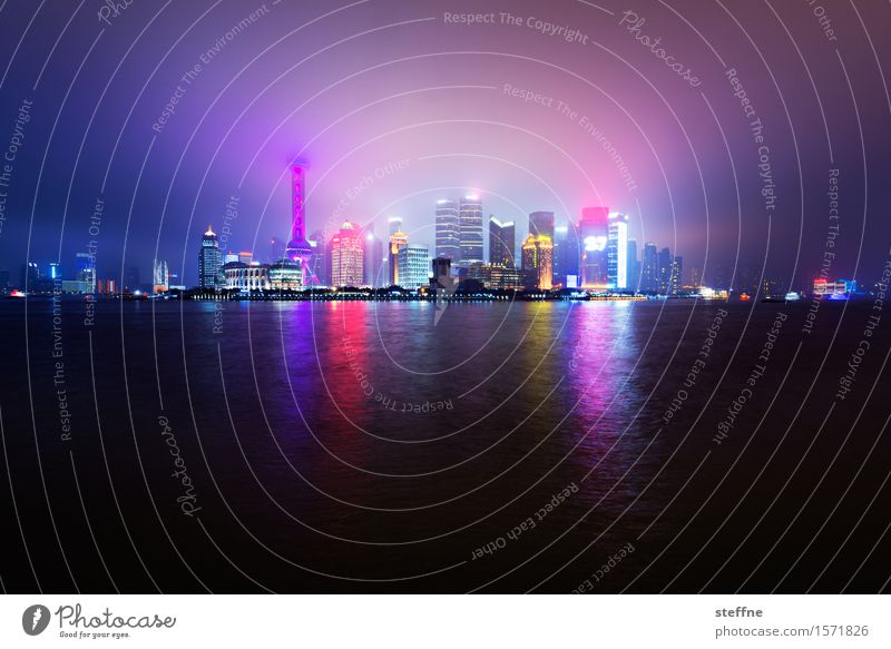 City Coast Party Fog High-rise River Skyline China Port City Night shot Shanghai Overpopulated Sea of light Hazy light