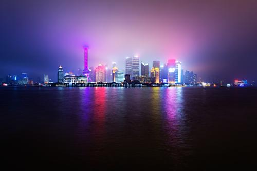 Urban Disco Coast River Town Port City Skyline Overpopulated High-rise Party Sea of light Hazy light Fog Shanghai China Night shot Reflection shanghai tv tower