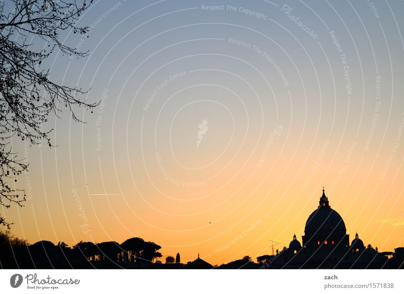 Enlightened Vacation & Travel Sightseeing City trip Sky Sunrise Sunset Rome Vatican Italy Town Capital city Downtown Old town Religion and faith Church Dome