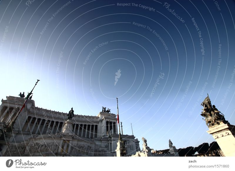 Blue the sky over Rome. Sky Beautiful weather Italy Town Capital city Downtown Old town Palace Places Piazza Venezia Tourist Attraction Landmark Monument
