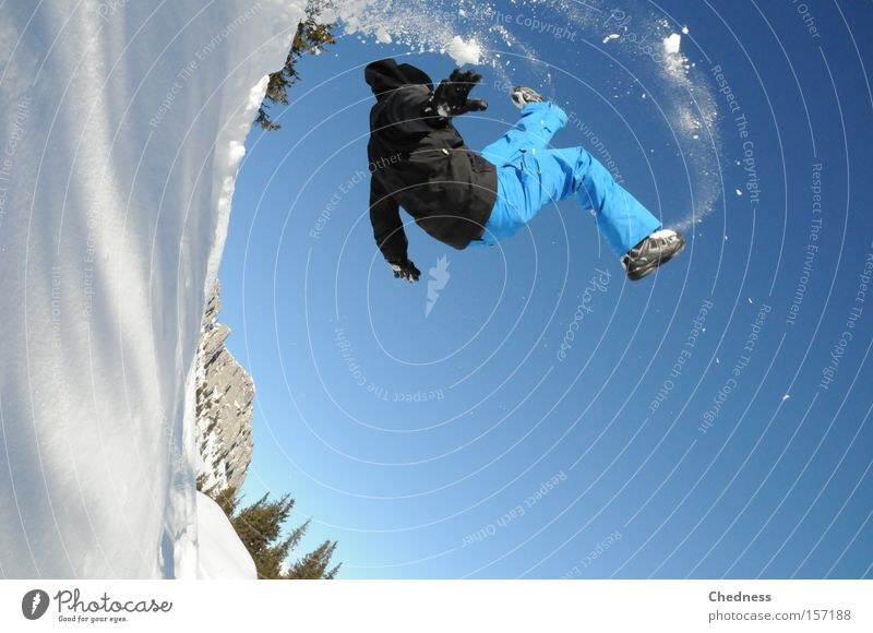 Blue Winter Sports Snow Jump Playing Mountain Snowfall Soft Jacket Winter sports Rotation Steep Salto Deep snow Powder snow