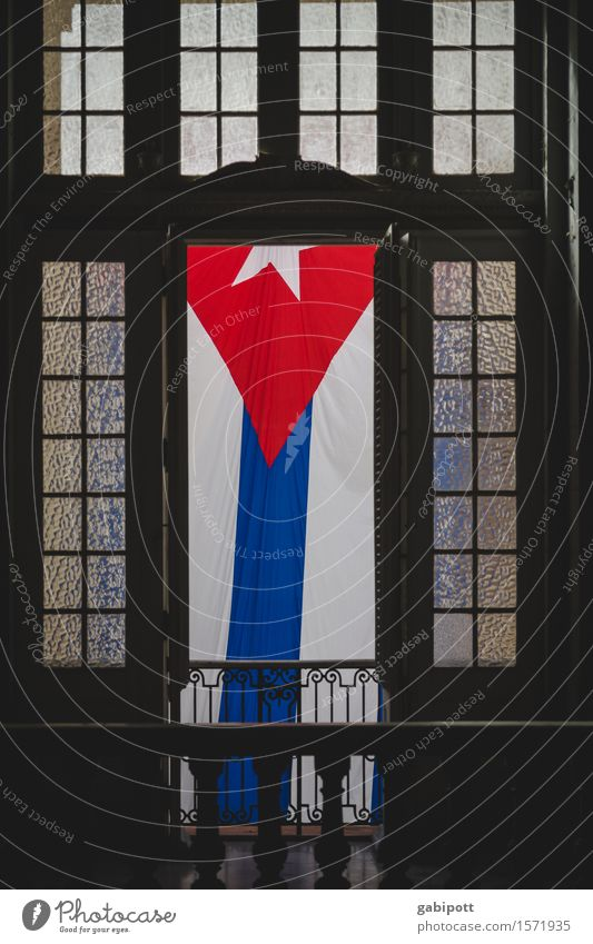 * Museum Havana Cuba Capital city Manmade structures Building Facade Window Door Tourist Attraction Monument Sign Flag Historic Blue Brown Red White Uniqueness