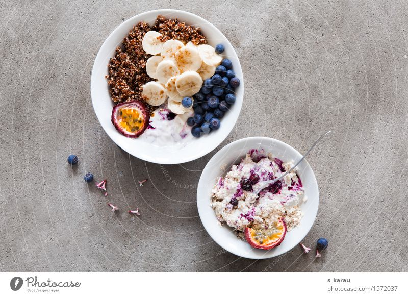 breakfast Food Fruit Nutrition Breakfast Organic produce Vegetarian diet Diet Bowl Healthy Healthy Eating Fresh Multicoloured To enjoy Cereal quinoa Banana